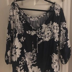 Navy and white floral peasant top